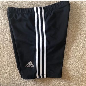 adidas Bottoms - Adidas   Biker Spandex Shorts Black & White Stripe